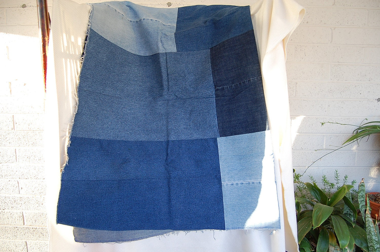 Recycled Jeans Lap Blanket 66 X 44 inches Concert Seating Camping or Great for a Dog Blanket