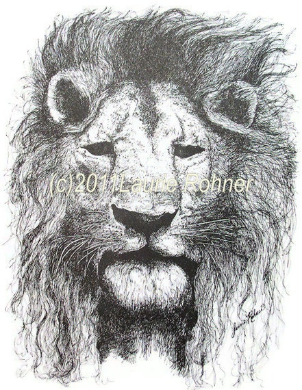 Print Pen and Ink Drawing of Lion titled A Lions Stare