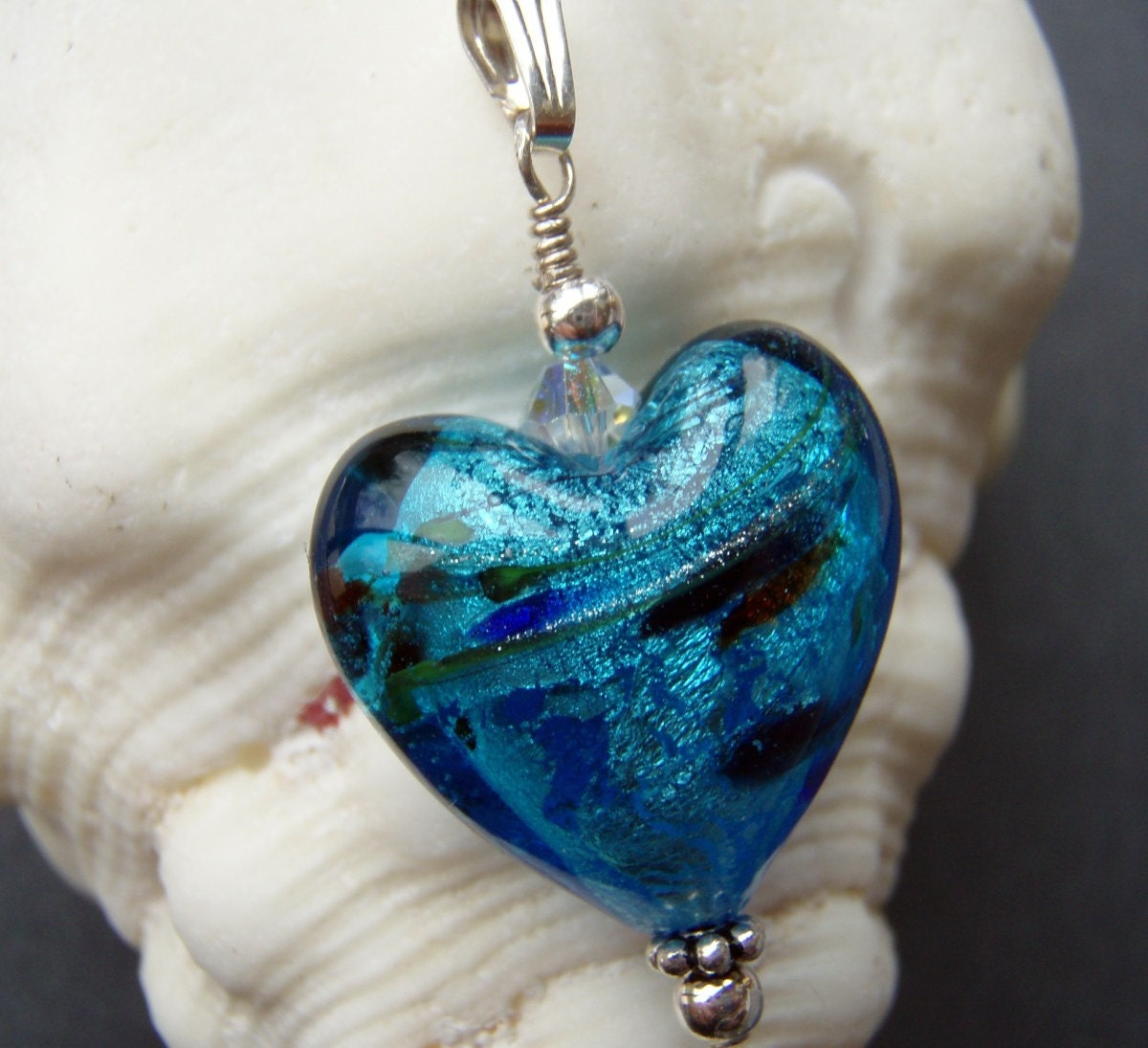 Caught in the Waves Ocean Heart Pendant