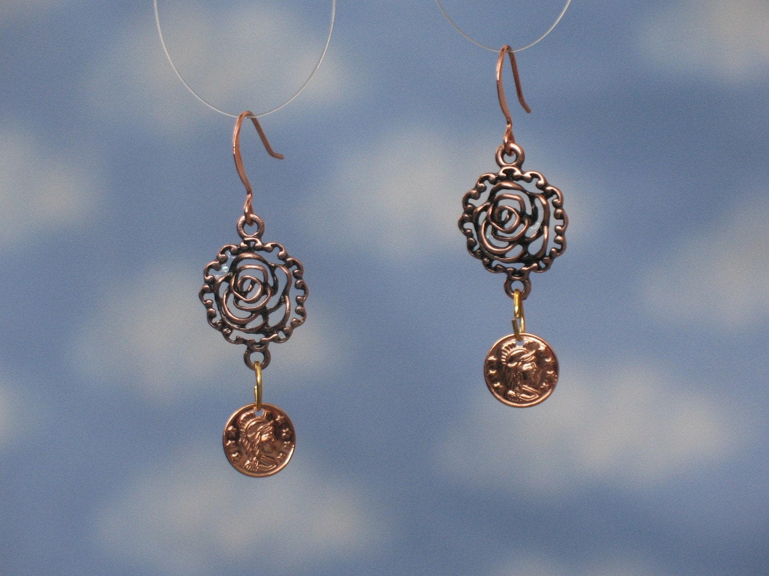 copper rose and Roman coin earrings