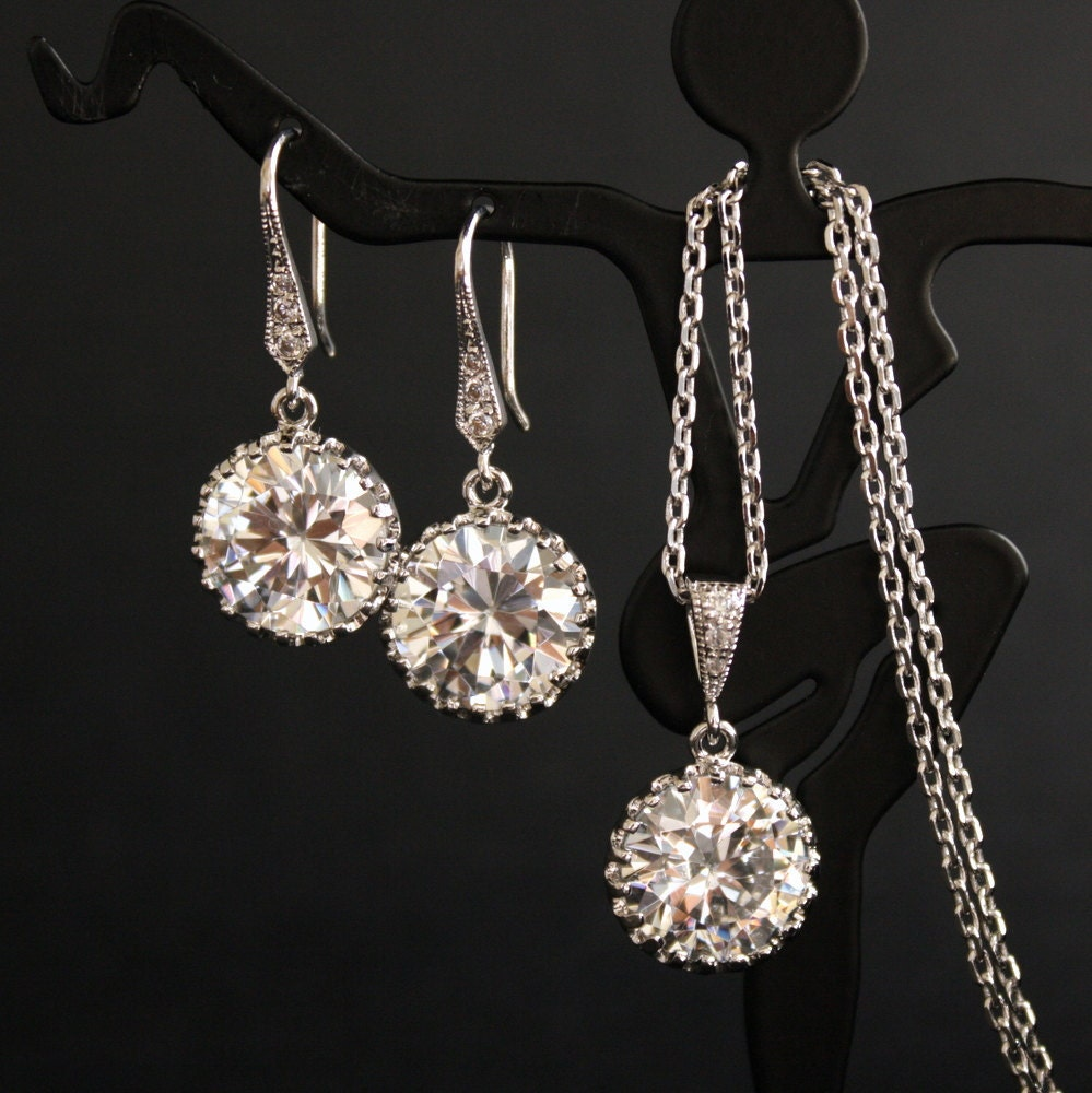 Wedding Jewelry Cubic Zirconia Bridal Jewelry Set Round Earrings and Necklace Silver Bridesmaid Jewelry