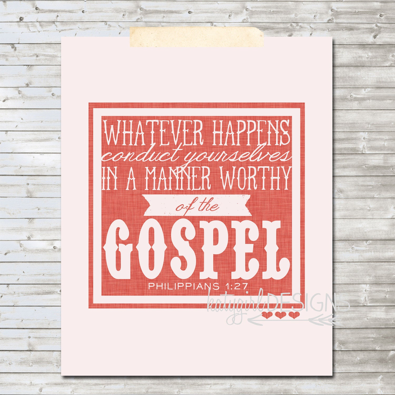 Philippians 1:27 8x10 Print
