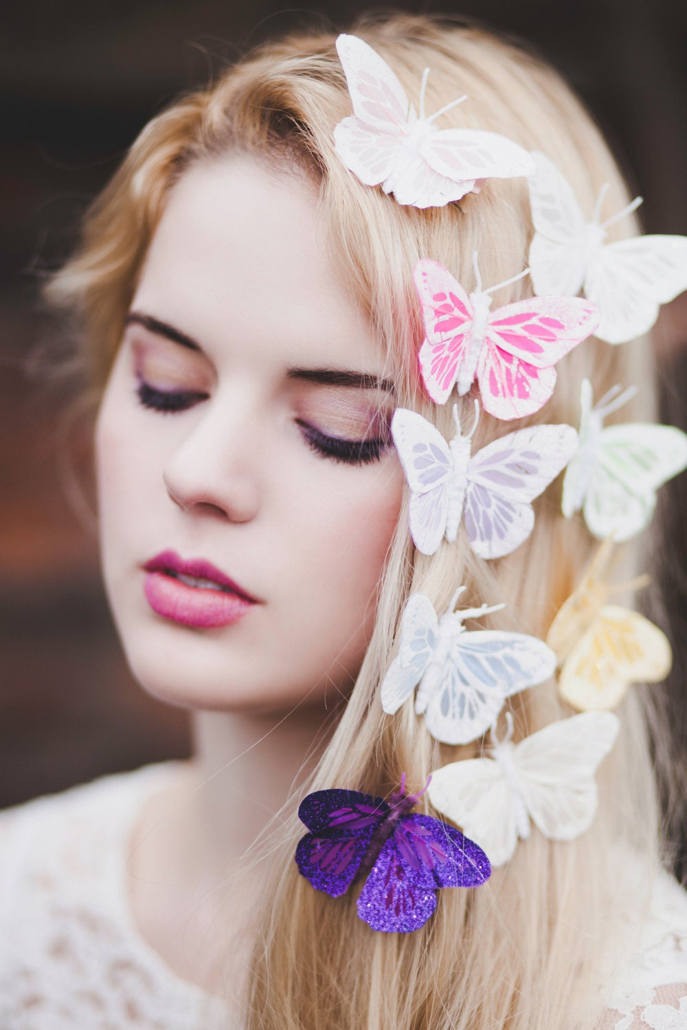 Glitter Pastel Feather Butterfly Hair Clip, Butterfly Clip, Butterfly Hair Clips, Butterfly Hair Clip- IN 9 COLOURS - beauxoxo