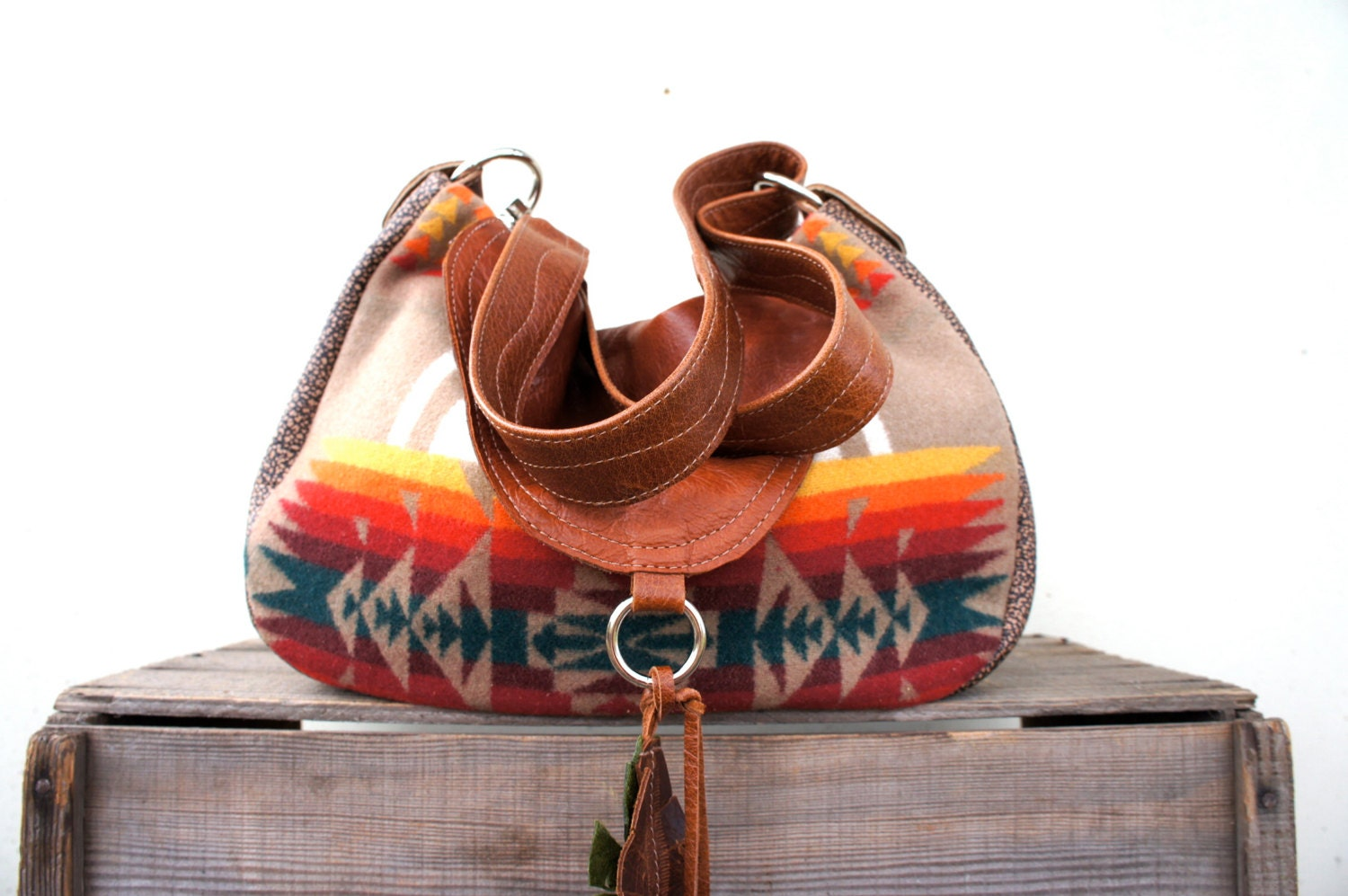 "SALE 15% OFF//LAVINIA/// in ""Chief Joseph"" Pendleton Wool and Brown Leathers with Two-Way Strap - arebycdesign"