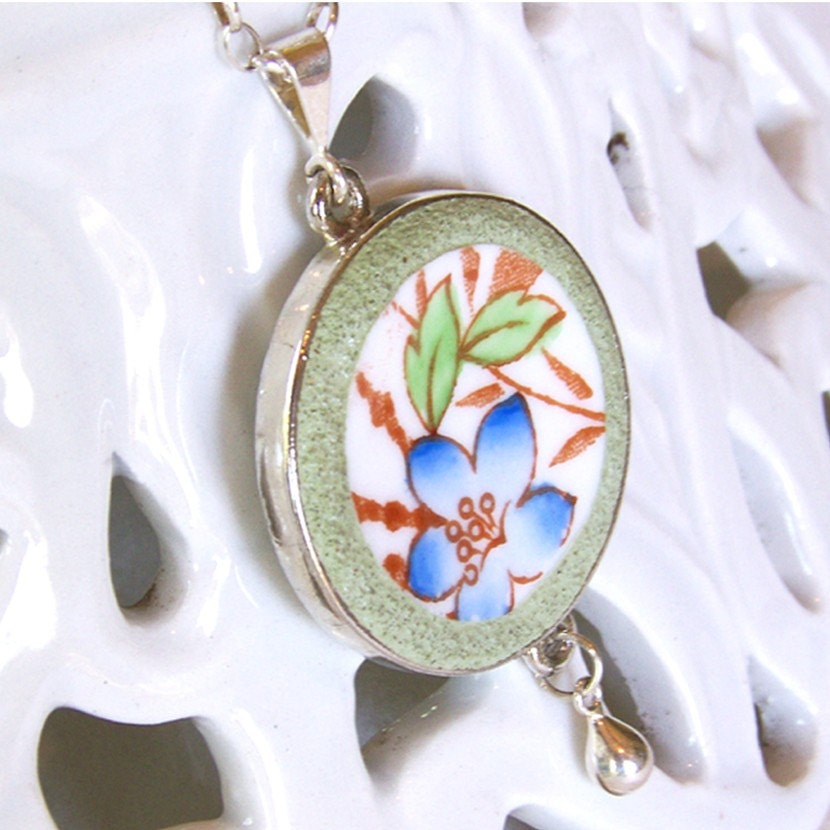 Timeless Floral Broken China Plate Necklace- Sterling Rolo Chain