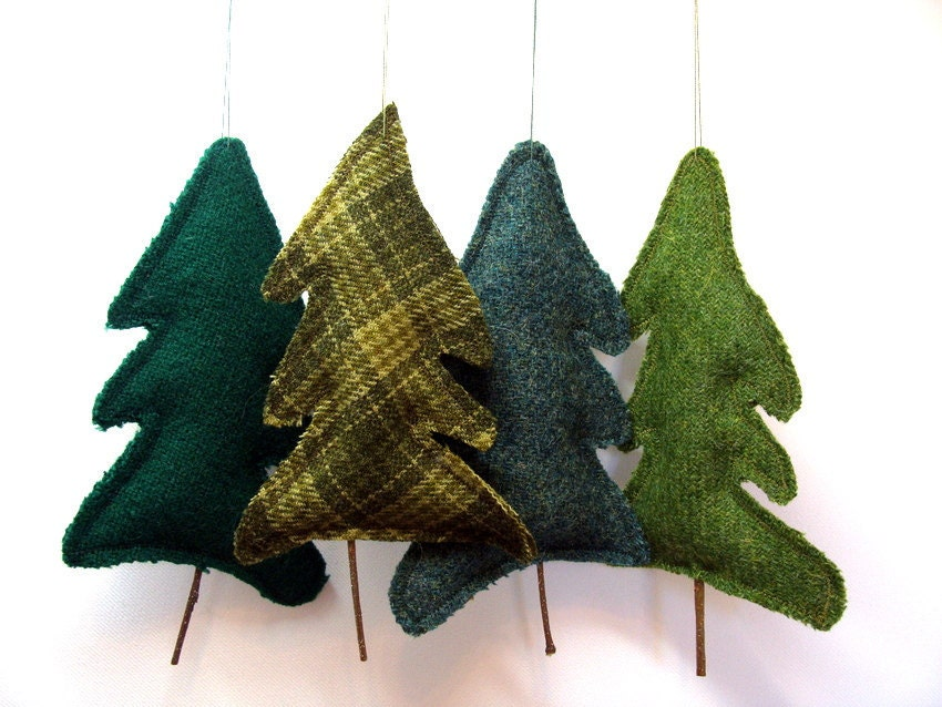 Tree Upcycled Wool Balsam Fir Ornament Botanical Sachet Balsam Scented