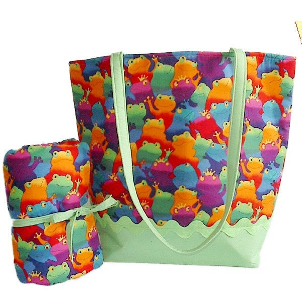 Etsy :: Colorful frogs diaper bag with matching changing pad : diaper ...