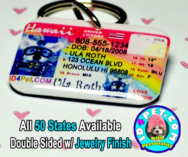 Hawaii Driver License Pet ID Tag Double Sided by ID4PET.com from etsy.com