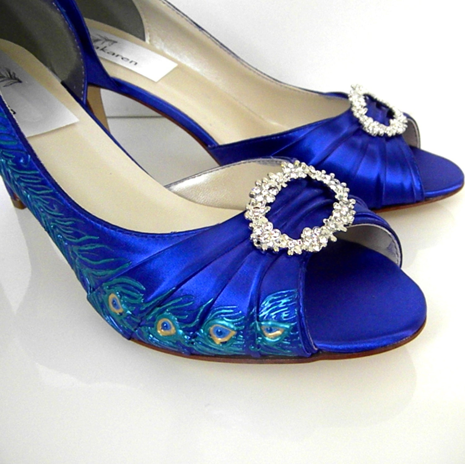 Wedding Shoes Painted Peacock Feather Sapphire Blue By Norakaren