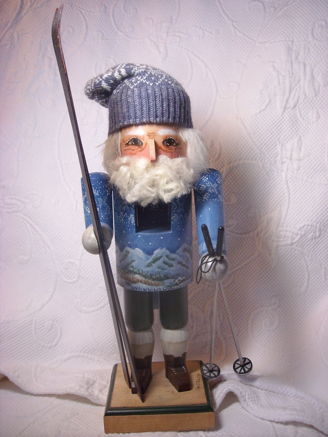 Collectible Hand painted Wood Skier Nutcracker