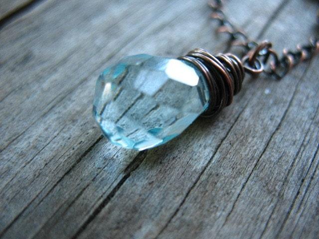 Aquamarine Quartz Necklace - Copper and Aquamarine Briolettes - Dew Drop