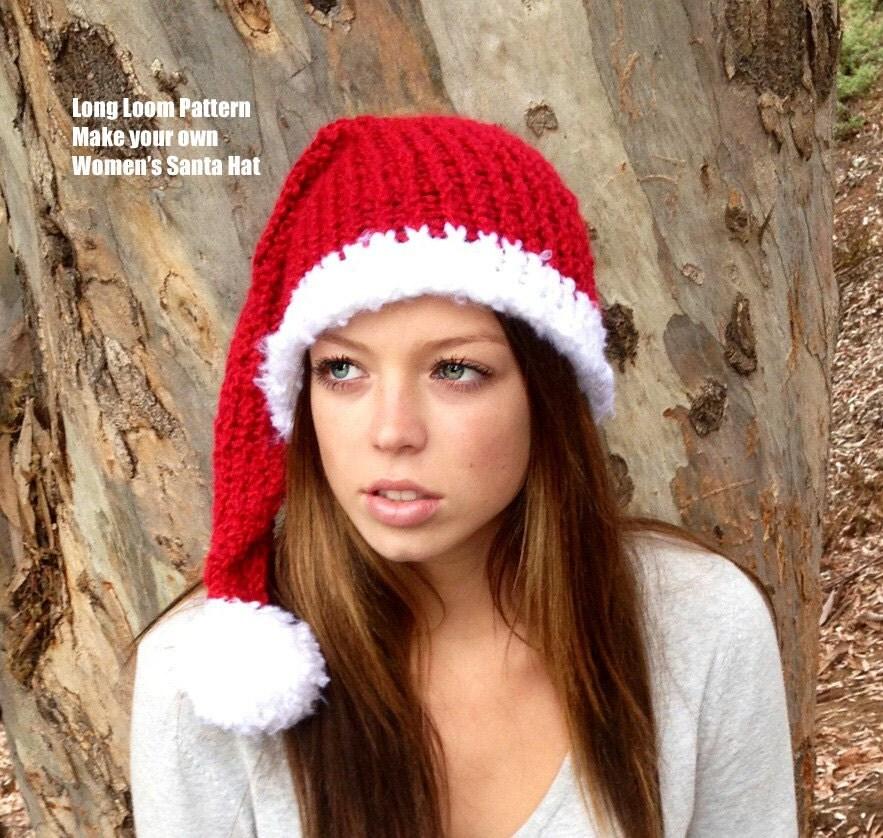 Knitting Pattern For Santa Hat : Womens Mens Santa Hat Loom Pattern