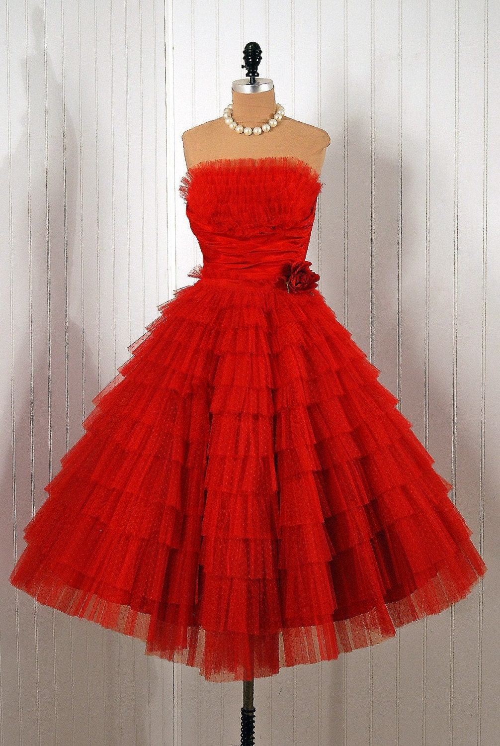 Reserved for mikaelajm 1950's Vintage Ruby-Red Strapless Shelf-Bust Tiered-Ruffle Tulle Rockabilly Party Dress