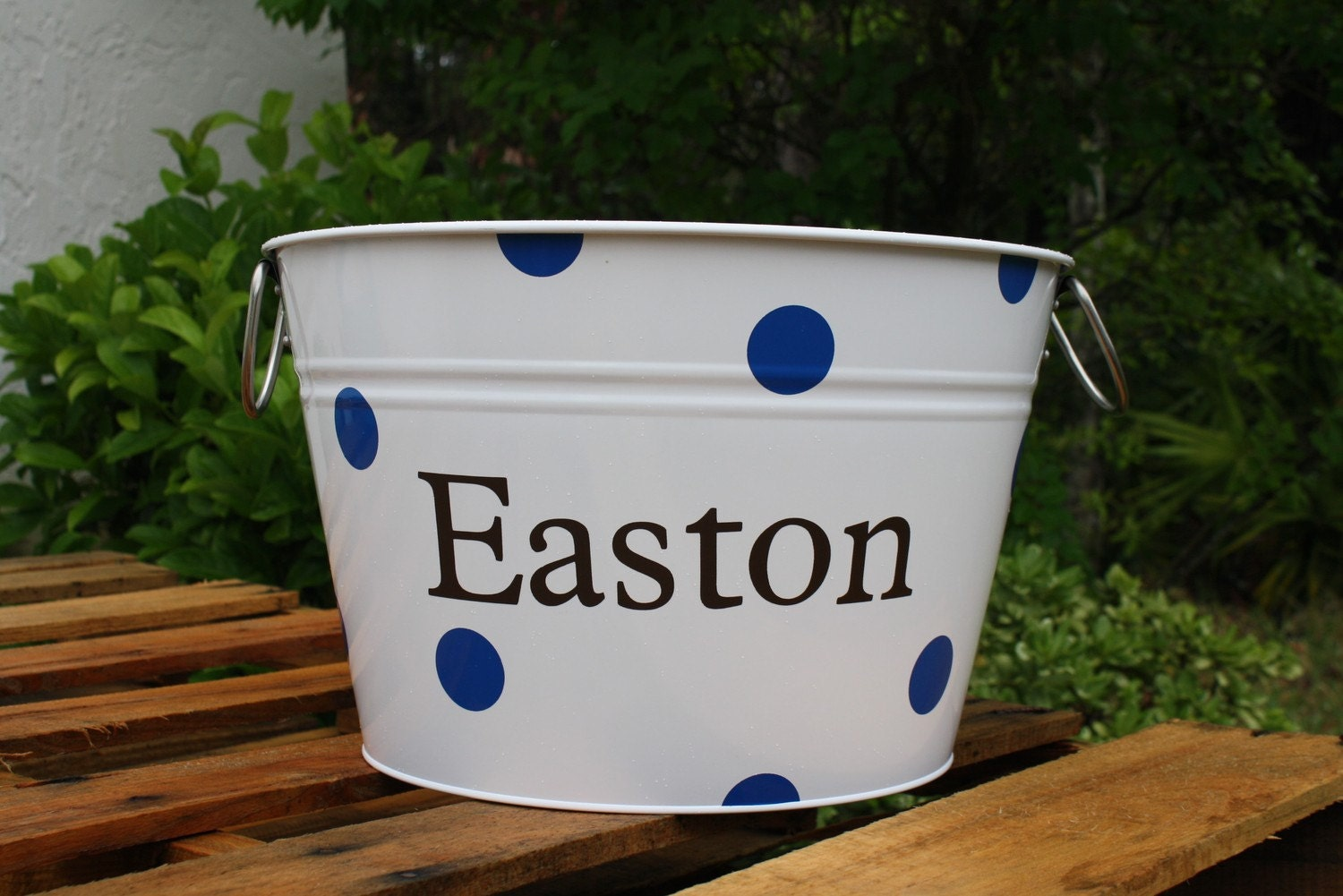White Steel Bucket with Personalization and Polka Dots