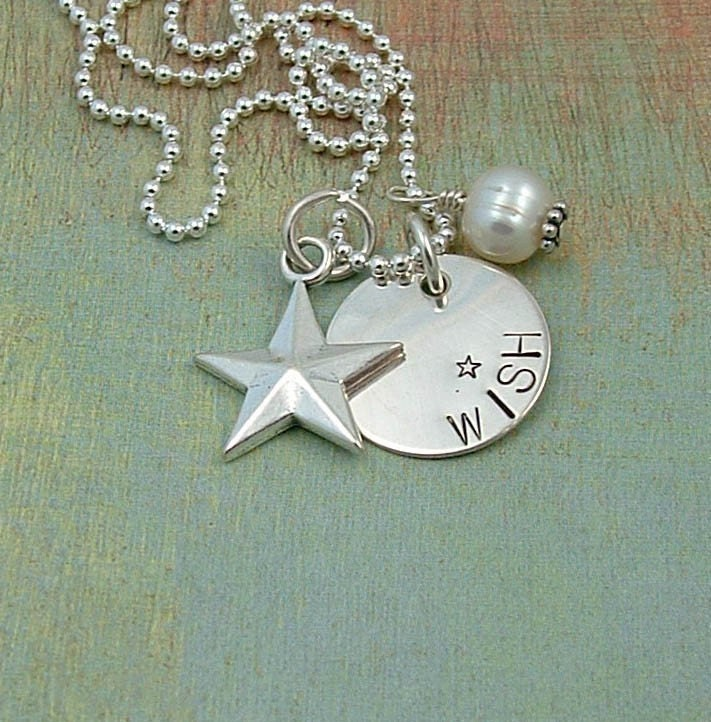 WISH ON A STAR........Hand Stamped Sterling Silver Necklace