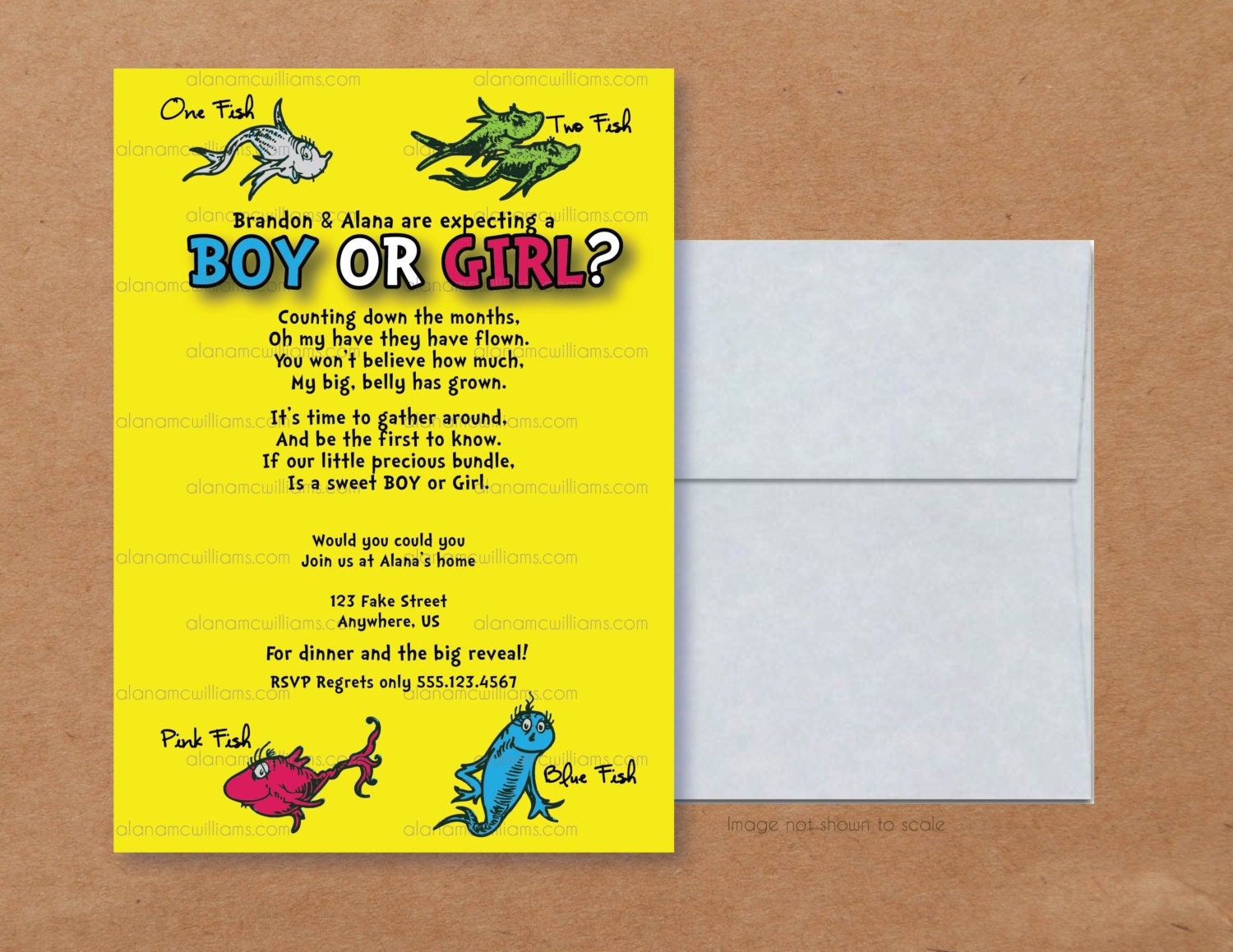 One fish two fish gender reveal poem party invitations ideas for Fishing gender reveal ideas