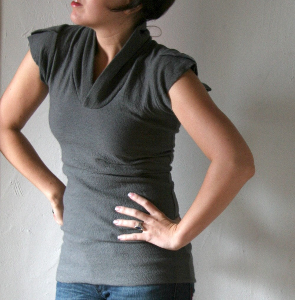 felted fine merino wool knit petal sleeve v neck - made to measure