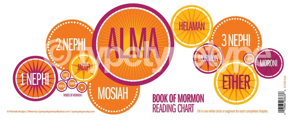 Book OF MORMON reading chart bookmark (bright) (( pack of 10 ))
