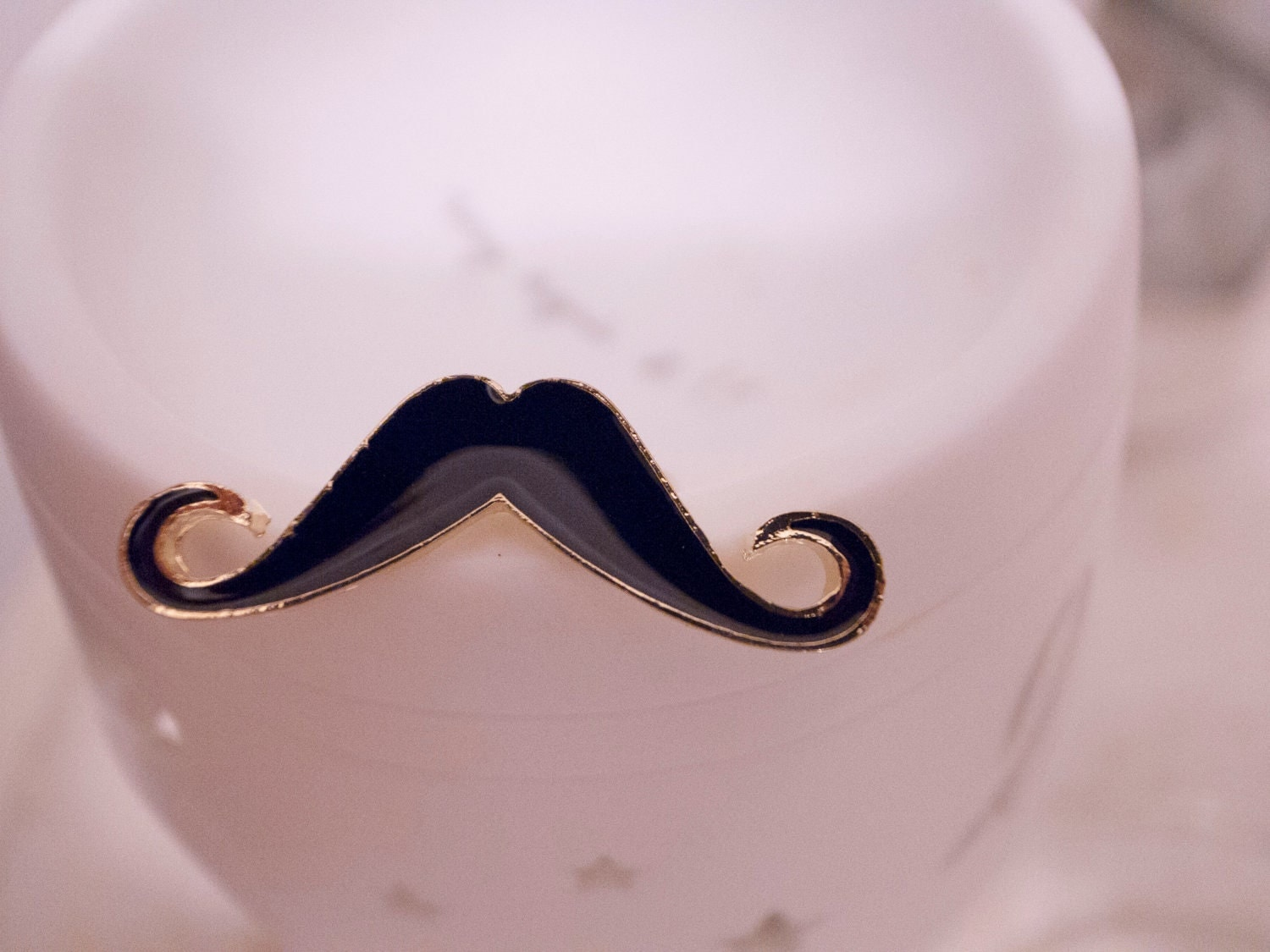 SALE -- LAST STOCK -- Funny and Chic Mustache Ring in Black - Size Adjustable