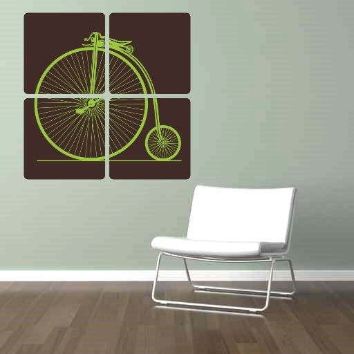 Large Antique Bicycle Modern Art Vinyl Wall Decal Panels