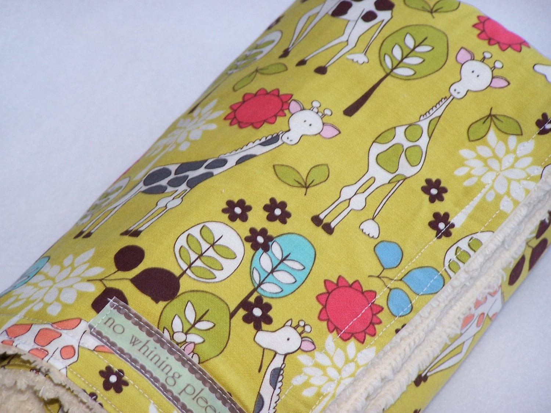 DoLLaR oFF  Free Washie  Giraffe Citron Chenille Blanket