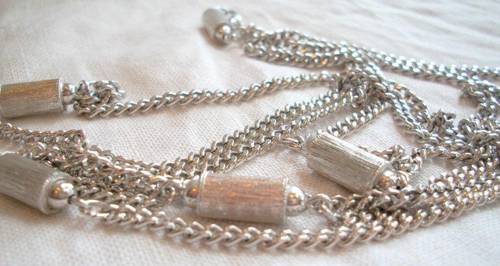 MONET Long Silver Bamboo Bead Wrap Necklace  FREE SHIPPING