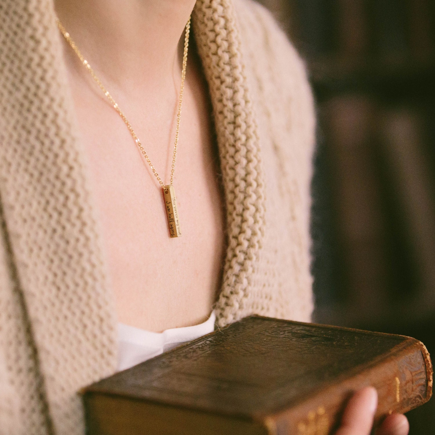 Jane Austen Persuasion Necklace  Half Agony Half Hope  Vertical Bar Necklace  Book Lover Jewelry  Perfect Gift for Wife  Gifts For Her