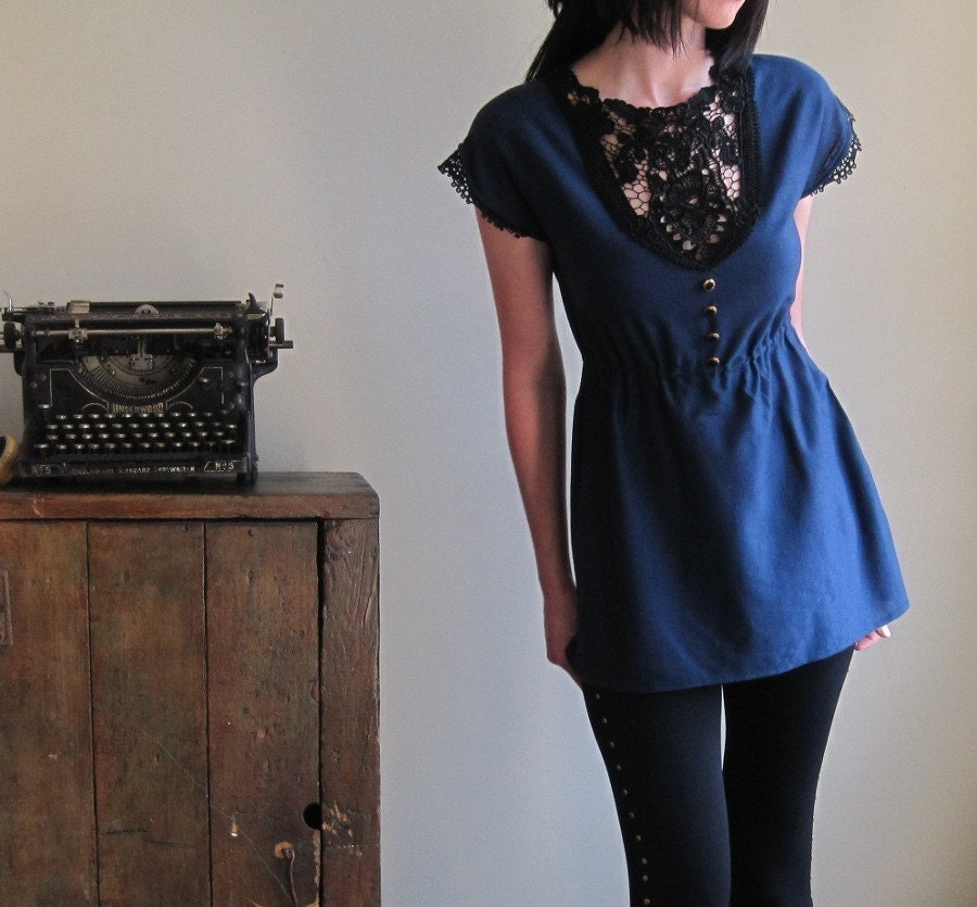 Navy blue nautical shirt - lace applique and gold buttons - small