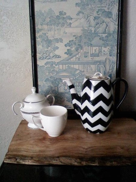 Chevron Tea Pot Upcycled
