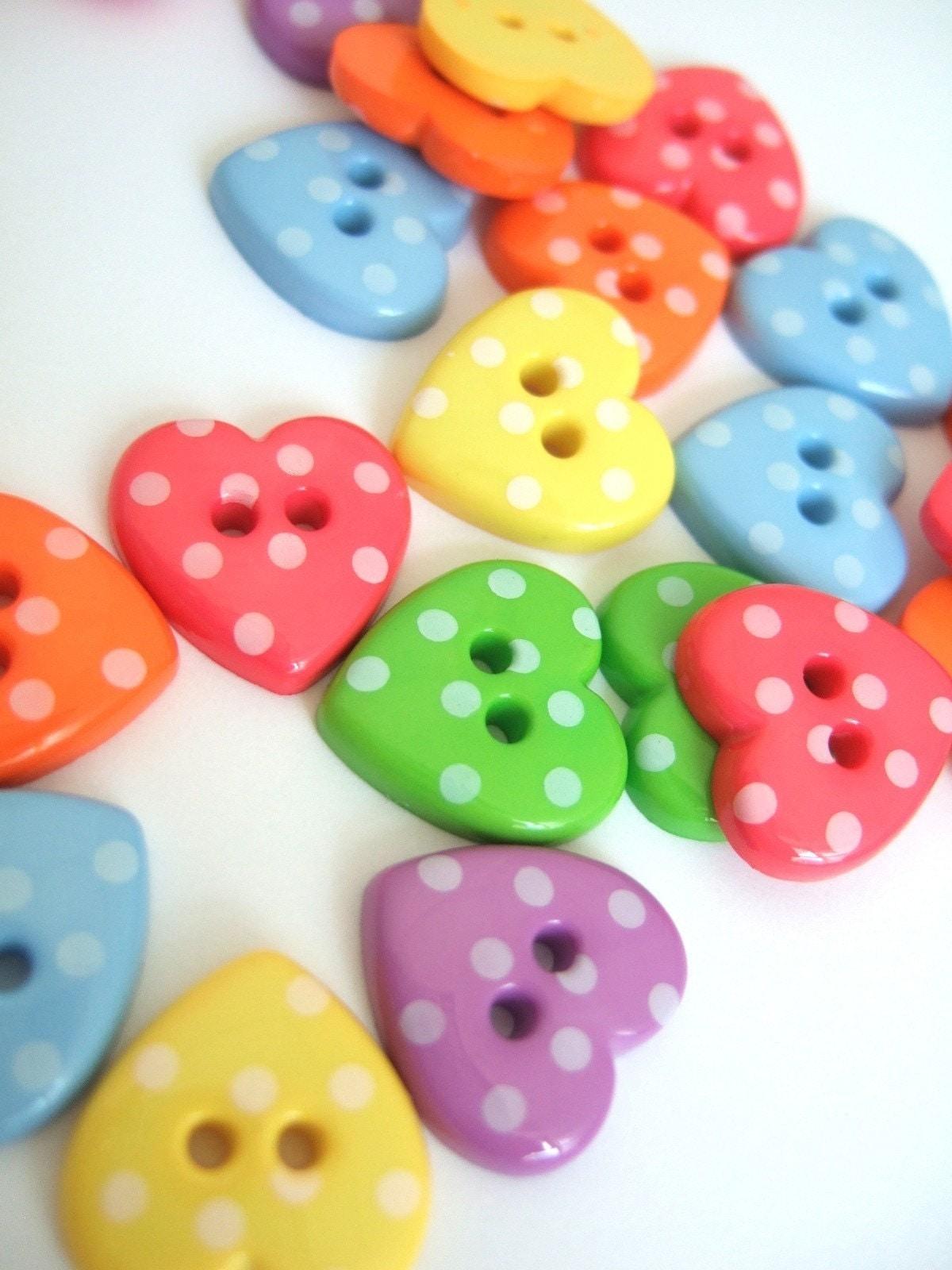 Polka Heart Buttons x60