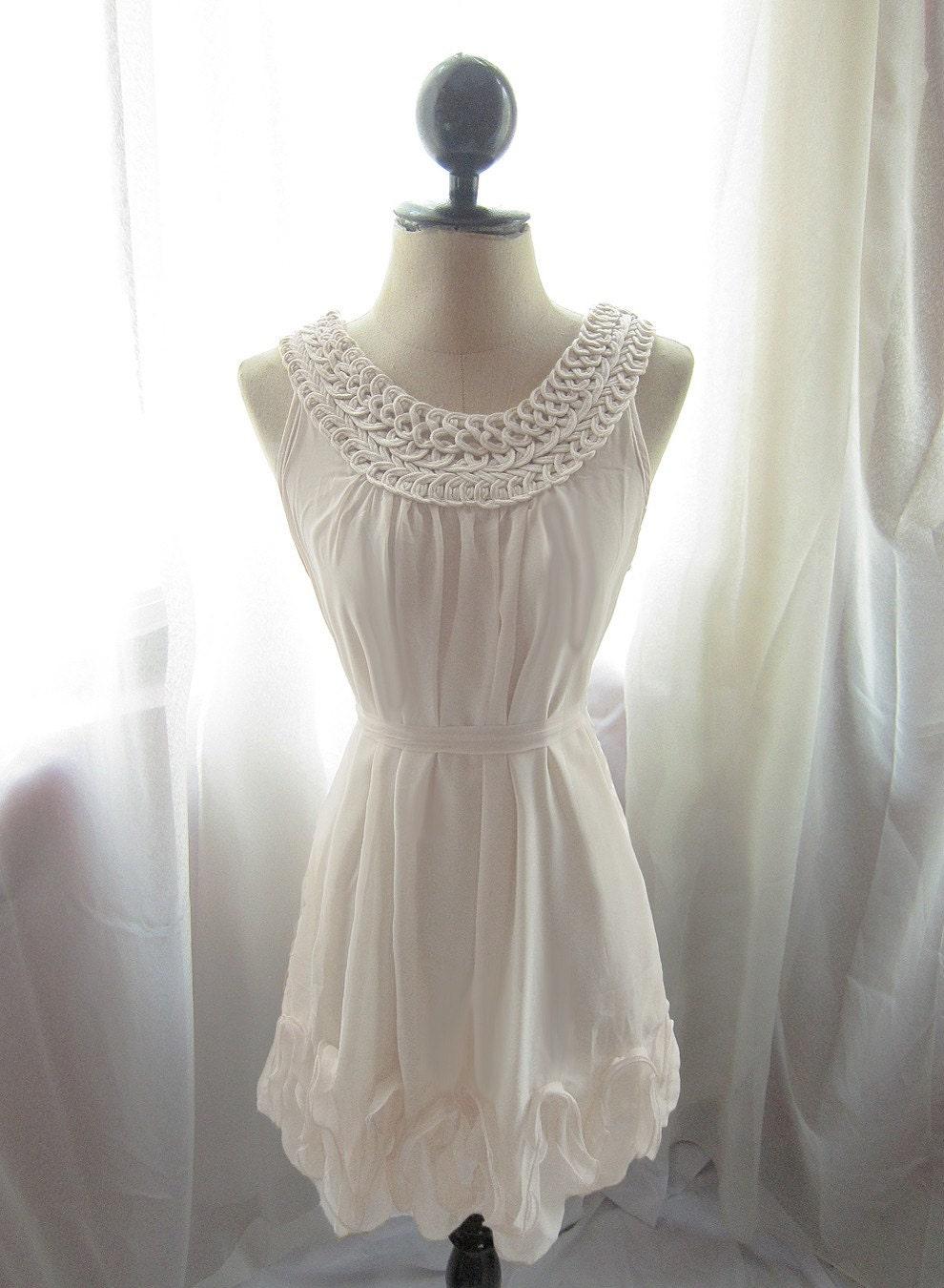 Grecian Romantic Rosette Woven Goddess Dreamy White Chiffon Dress.