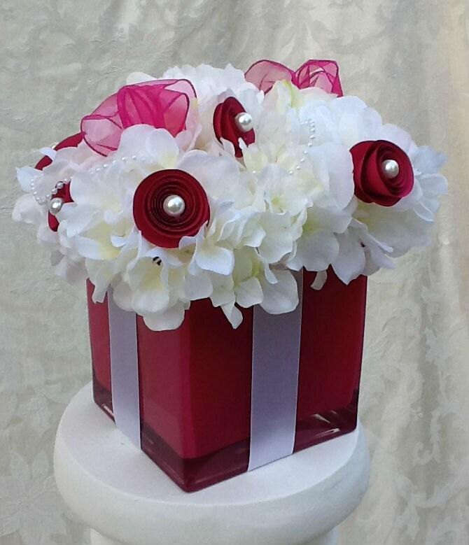 Silk floral gift box centerpiece for wedding by duchessflorals for Flower arrangements for sweet 16