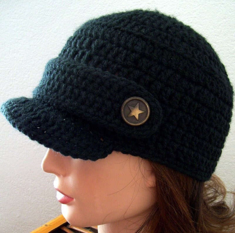 Black Newsboy Hat with Star Buttons