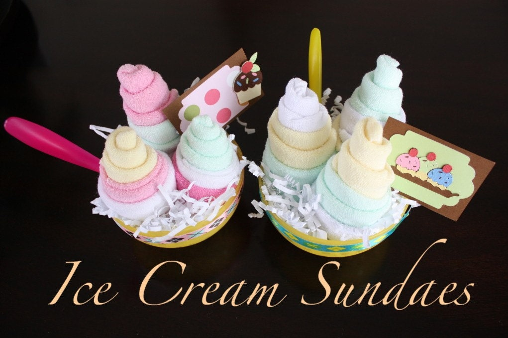 25% OFF SALE - Lemon Melon Ice Cream Sundae - filled with baby items
