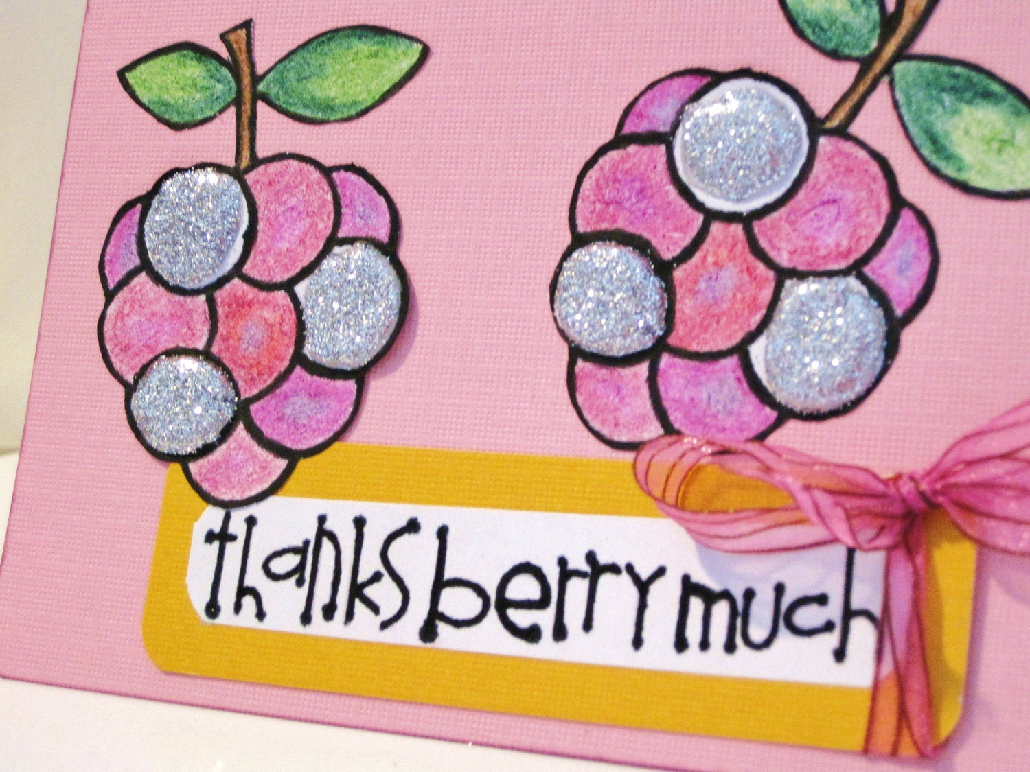 Thanks Berry Much Hand Cut and Glittered Greeting Card, Blank Inside, Pink and Purple Grapes