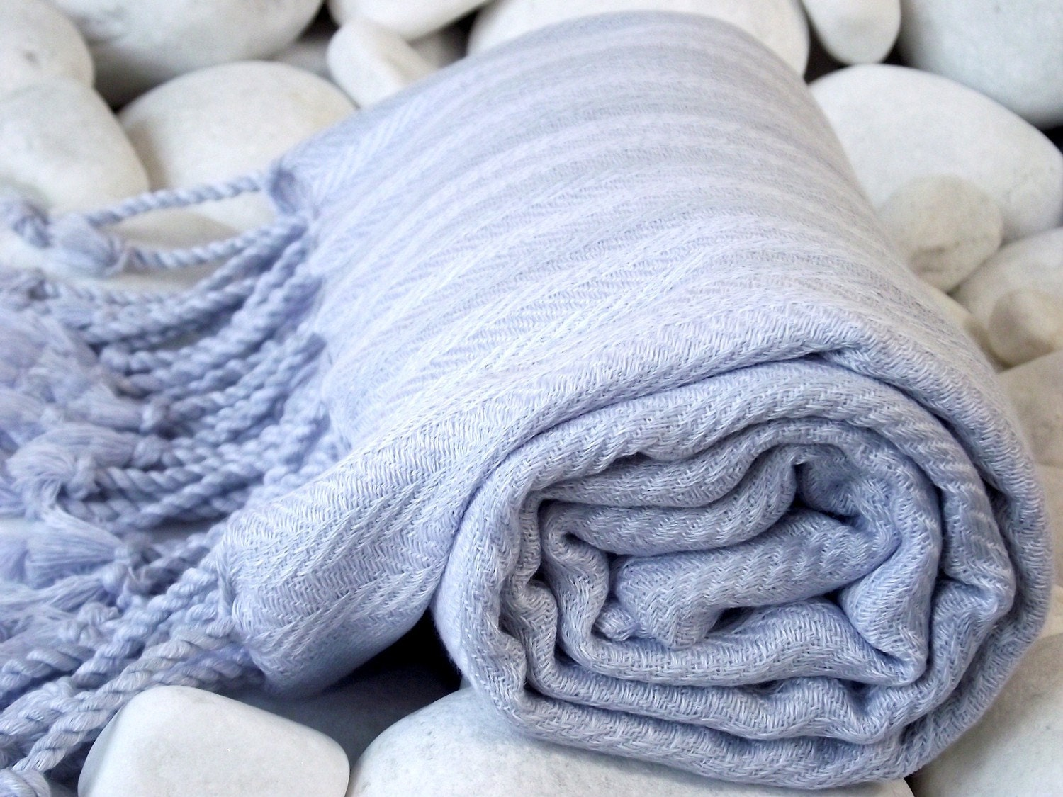 Very Soft Hand Woven Turkish Cotton Bath Towel or Sarong-Pastel Grey Blue