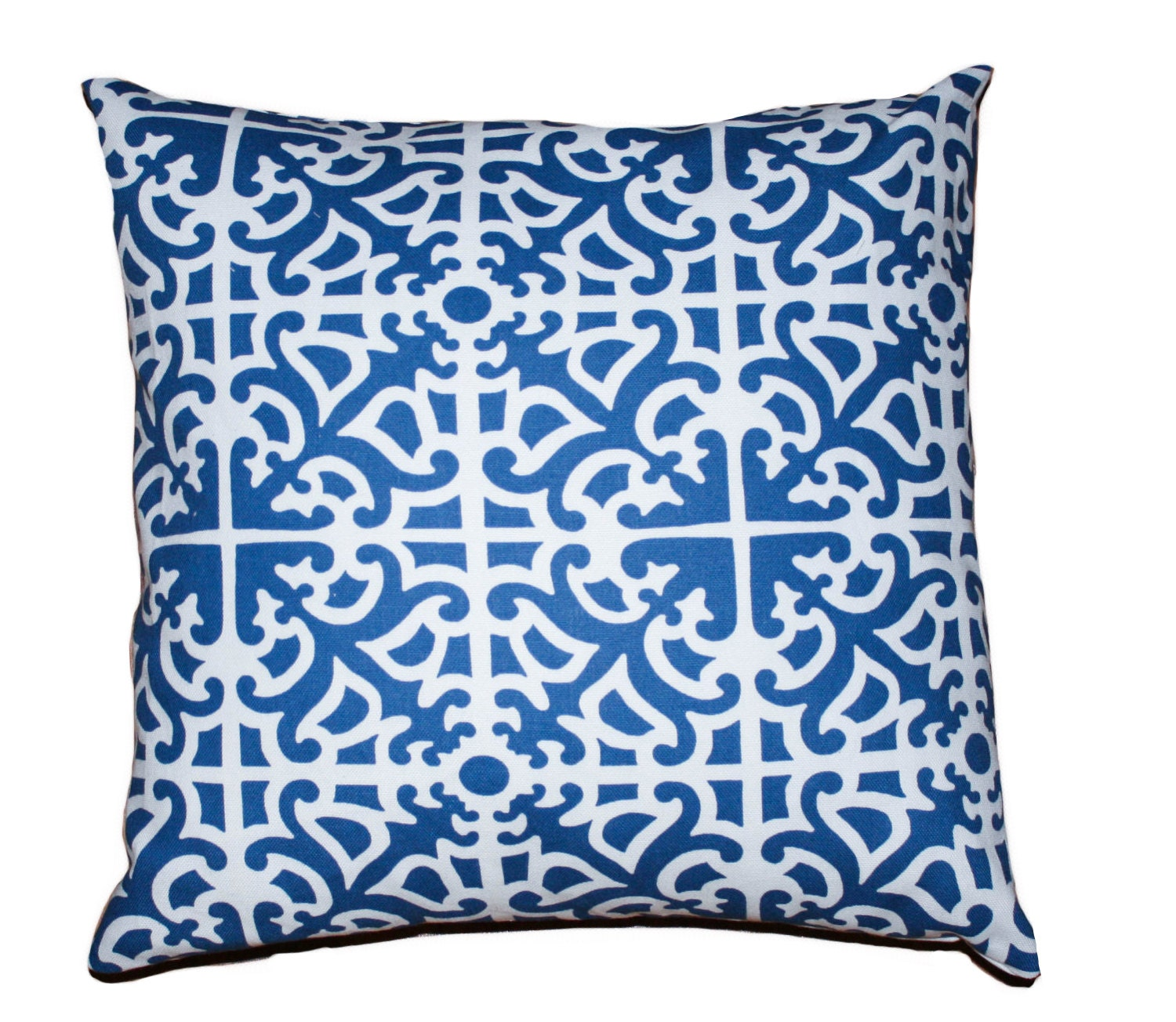 "Blue Pillow Cover Geometric Pattern 16"" x 16"" - Crackerbox"