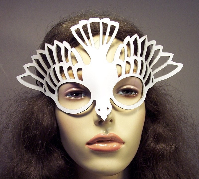 Bird leather cut out mask in white