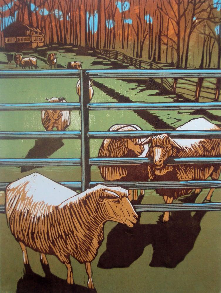 Nature Art, Sheep and Farm, Brown, Green, Orange, Blue, Woodblock Print