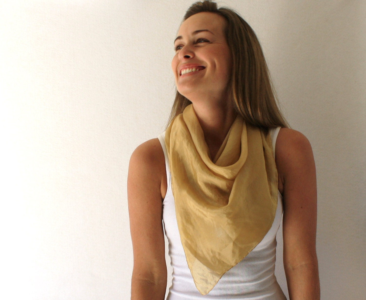 Brown Silk Scarf - Natural Dye- Hand Dyed Silk Scarf - Fall Fashion -Gold Scarf -Autumn - TheSilkMoon