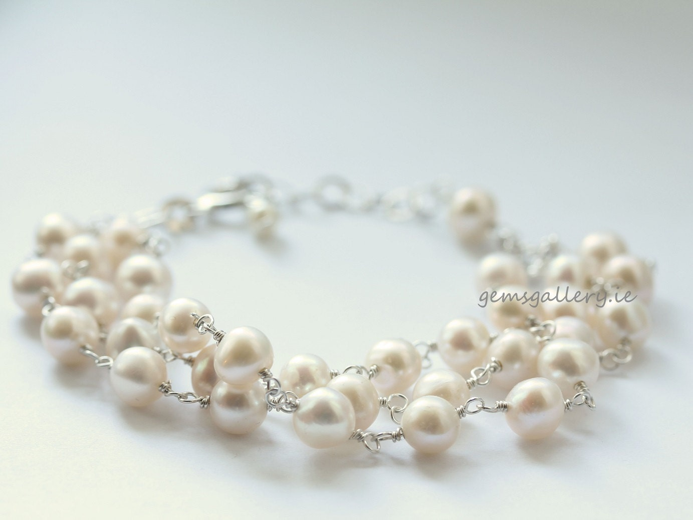 Freshwater Pearls Wedding Bracelet, Bride Jewellery - gemsgallery