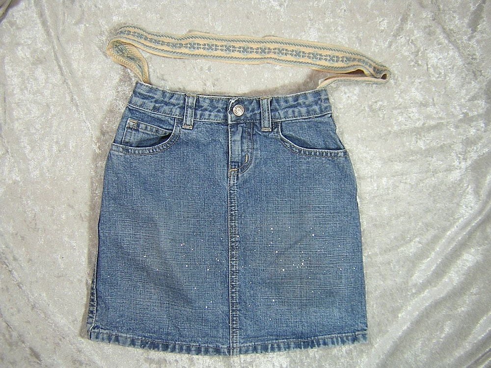 Glittery Denim Upcycled Skirt Bag with Embroidered Ribbon Strap - Handmade by Rewondered D201P-00004 - $19.95