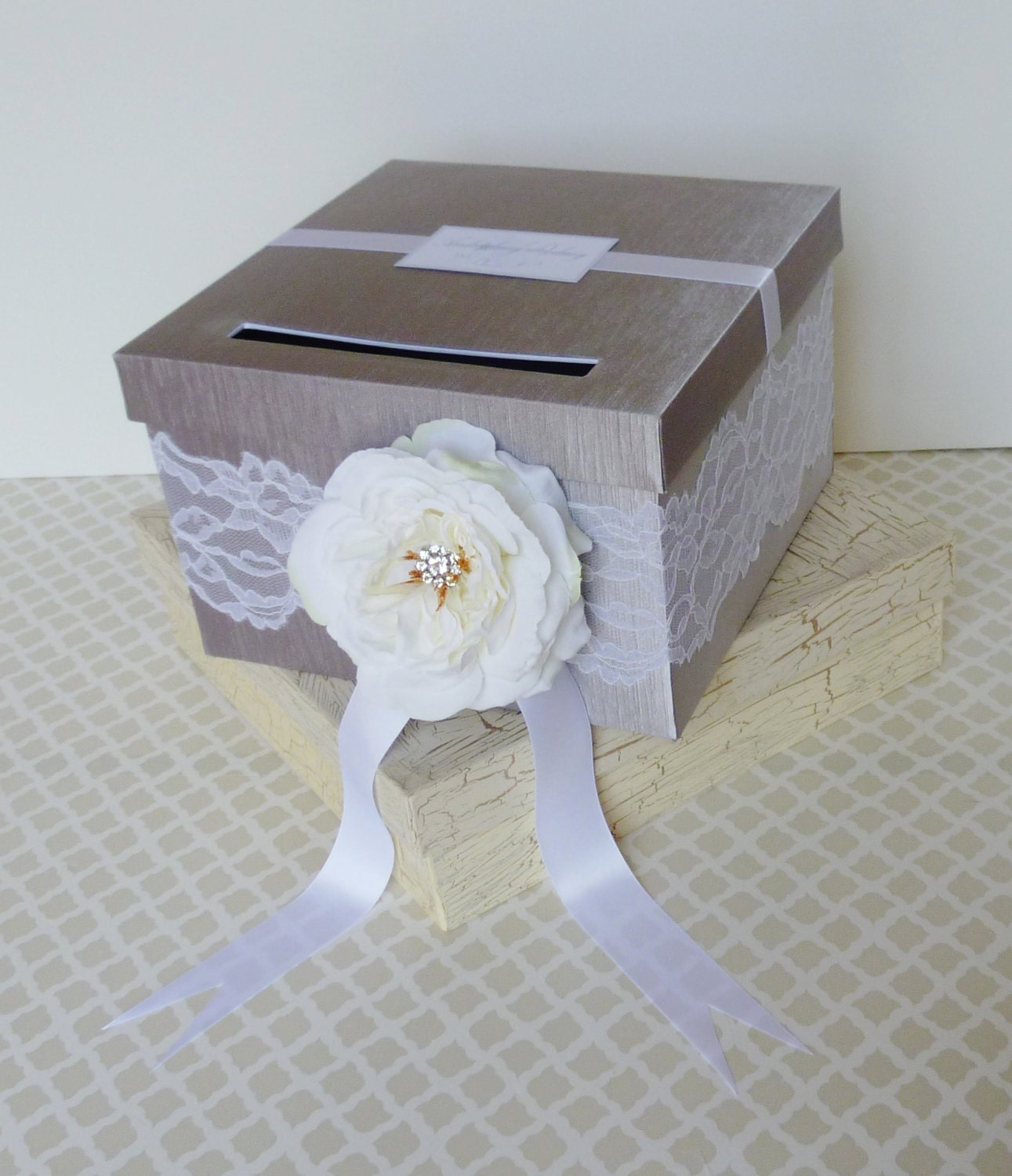 Winter Wedding Gift Card Box : Wedding Card Box Silver White Lace Winter Wedding Money Holder ...