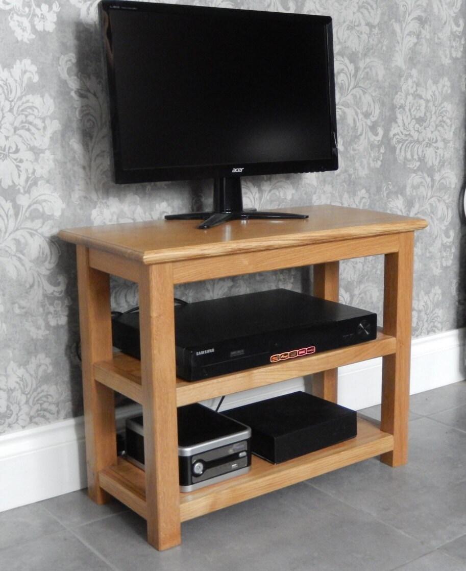 Media Unit Oak TV Stand Handmade Media Console Table Solid Oak TV  Media Storage Solid Oak Table with 2 Storage Shelves