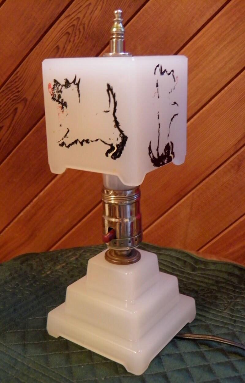 Vintage lamp art deco lamp opaline houze glass by for Houze design