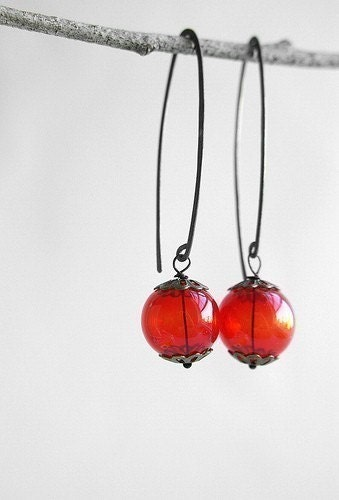 Red sphere glass earrings- red lantern oxidized sterling silver earrings, red glass bubble hand hammered wire