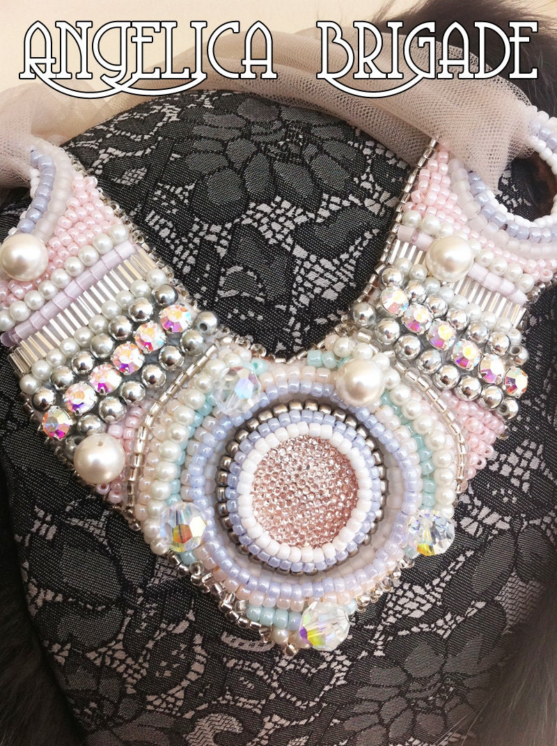 Beaded Bib Necklace SAMPLE SALE, Statement Necklace, Beaded Collar - for wedding, photo shoot prop, special occasion