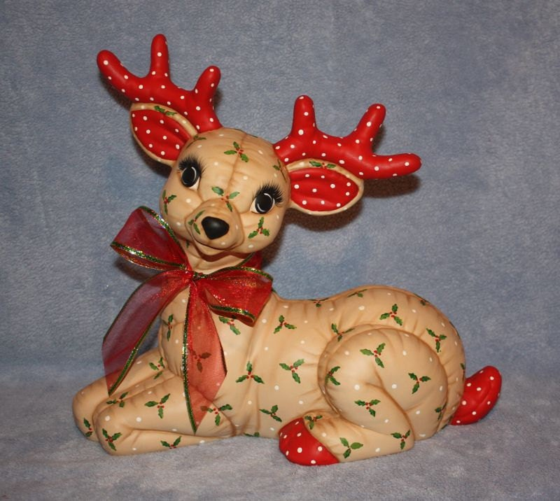 Jumbo Hand Painted Ceramic Christmas Reindeer Laying With