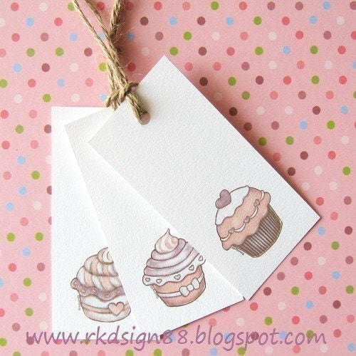 Cupcakes Gift Tags Set - Printable PDF File - Cute Arts