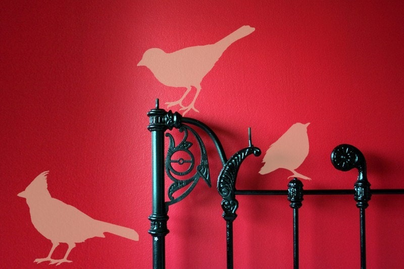 Pack of three Bird Vinyl Graphic Decals, Cute Birdies